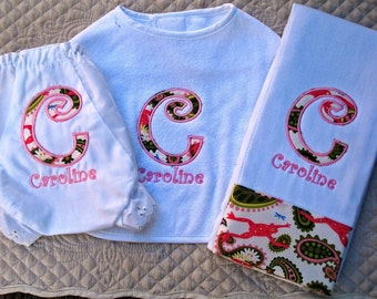 Boutique Custom Monogrammed Personalized Diaper Cover, Baby Bib and Burp Cloth Set