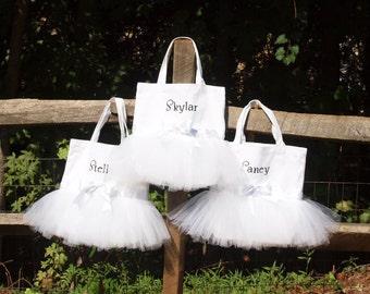 Bride, Bridesmaid or Flower Girl Tote Bag Custom Boutique monogram name Fairytale Wedding