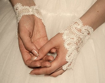Simply Stunning and Elegant Battenberg Lace Bridal or Special Occasion Fingerless Gloves