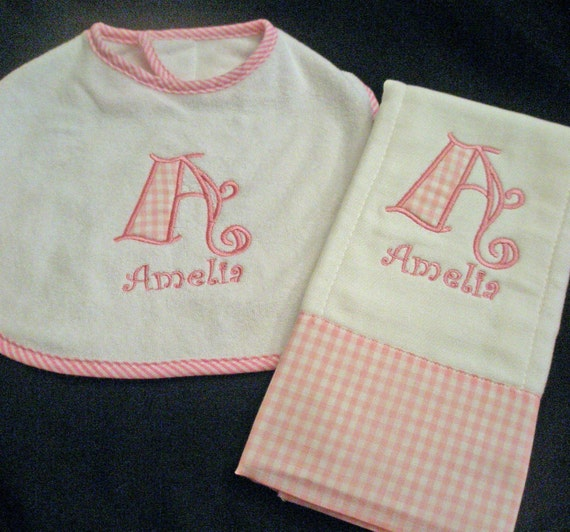 Boutique Custom Monogrammed Personalized Baby Bib and Burb Cloth