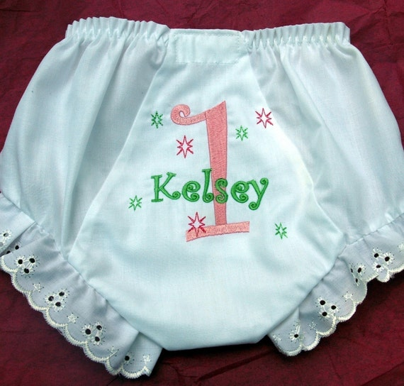 Custom Boutique Birthday Monogrammed Personalized Girly Diaper Cover with Eyelet Lace Edging.