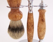 Black Cherry Burl Wood 24mm Silvertip Badger Brush, Mach 3 Razor and Stand Shaving Set (Handmade in USA) - PCwoodcraftandPens