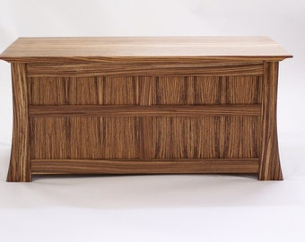 Zebrawood Blanket Chest with Cedar Lining (Handmade in USA) - Heirloom Gift - Anniversary Gift - Handmade Wood Chest