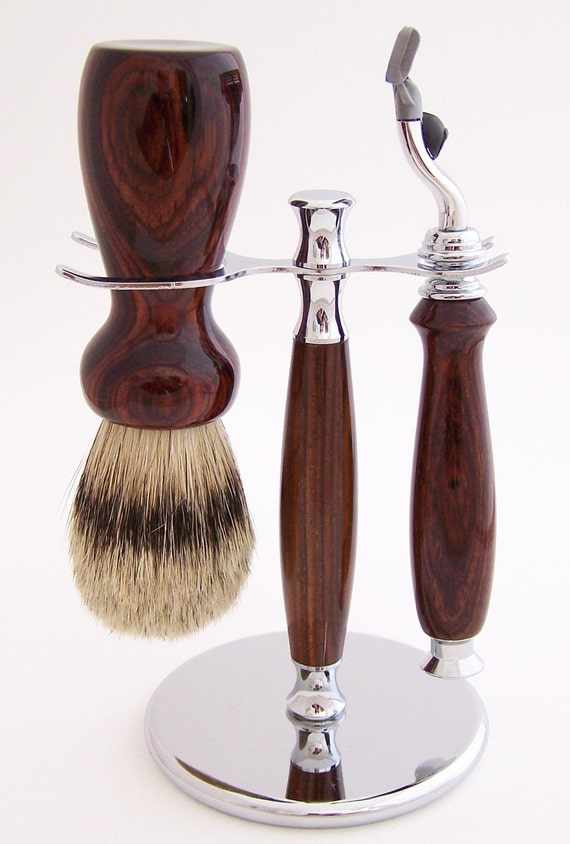 Cocobolo Wood 24mm Silvertip Badger Brush, Mach 3 Razor and Stand Shaving Set (Handmade in USA)