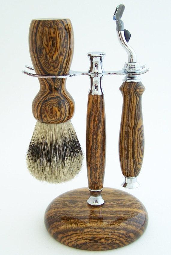 Bocote Wood 24mm Silvertip Badger Brush, Mach 3 Razor and Stand Shaving Set (Handmade in USA)