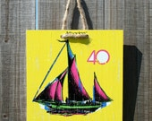 Harbour Yellow Ship- 8 x 8 Original Artbadge - archival inks on wood, with jute rope ready to hang
