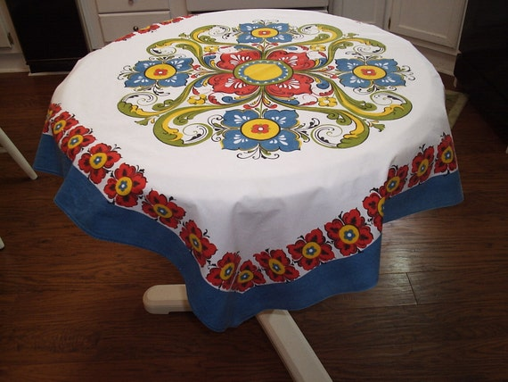 Cheery Vintage Tablecloth 37 X 39 Inches Red & Blue