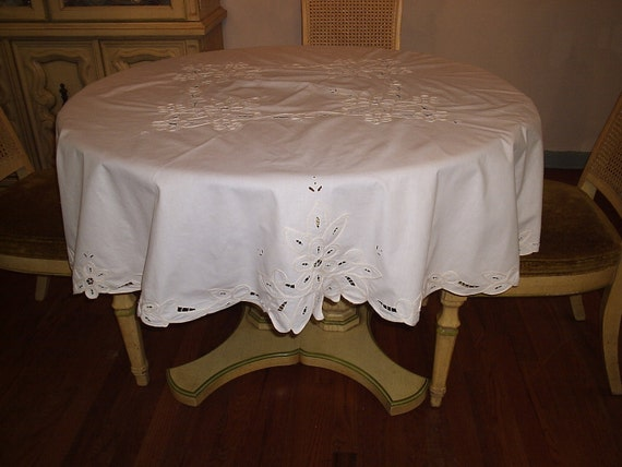 Vintage White Cutwork Round Tablecloth 67 Inches Round