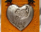Silver Leafed Heart Art - Orange with Decorative Pull 6x6