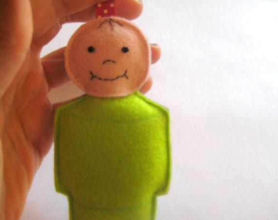 Little People Ornament - Lime Green Boy
