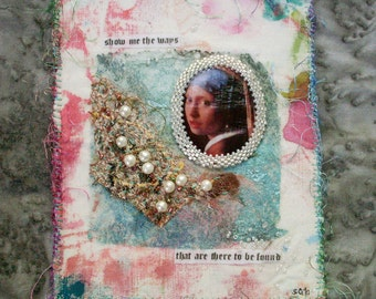 FREE SHIPPING Tiny Fiber Art and Mixed Media Collage Pearls of Wisdom
