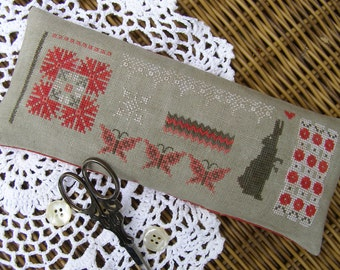 Primitive Cross Stitch Pattern M Designs Miss Mary Mac's French Red Pincushion - Instant Downloadable PDF