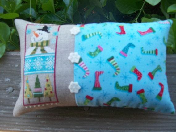 Winter Fun Sampler Decorative Needlework Pillow
