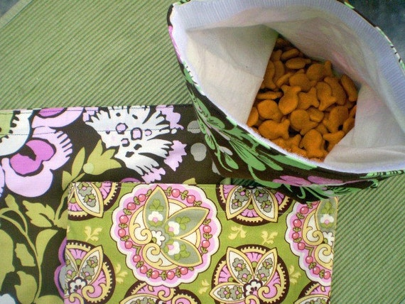 Set of Five Assorted Reusable Snack Bags