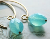 Blue Chalcedony Earrings Gold Gemstone Cerulean Azure Tropical Aqua - Caribbean Blue earrings - Cyber Monday Sale - 10% off