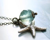Mermaid Totem necklace - Fluorite Starfish and Sterling Silver Oxidized Charm Necklace