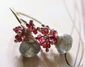 Hot Pink Grey Earrings Labradorite Red Spinel Sterling Silver Cluster Gemstone Earrings - Black Friday Sale - 10% off