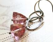 Pink Earrings Mystic Quartz Sterling Silver Oxidized Circle Triangle Pyramid Gemstone