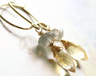 Citrine Labradorite Gold earrings Yellow Grey Gemstone Wire Wrapped Gold Earrings