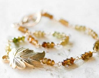 Tourmaline Bracelet Gold Wire Wrapped Earthy Rustic Green Brown Ochre Petrol Tourmaline Leaf Bracelet