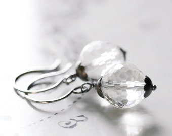 Crystal Quartz Earrings Sterling Silver Oxidized Round Faceted Diamond Clear Ice Earrings