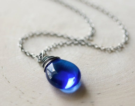 Rain Necklace Sapphire Blue Glass Sterling Silver Wire Wrapped Oxidized Cobalt Water Drop