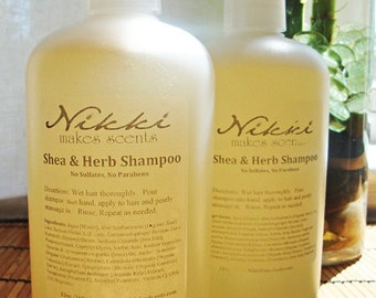 Shea & Herb Shampoo - No Parabens or Sulfates - Over 250 scents -12oz/360ml