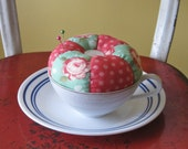 spring magic teacup pincushion