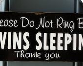Do Not Disturb Twins Sleeping door hanger - custom wood sign - Do Not Ring Bell