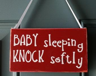 KNOCK softly BABY sleeping door hanger - wood and vinyl sign