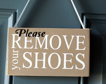 Shabby Chic Please Remove Your Shoes wood sign - door hanger