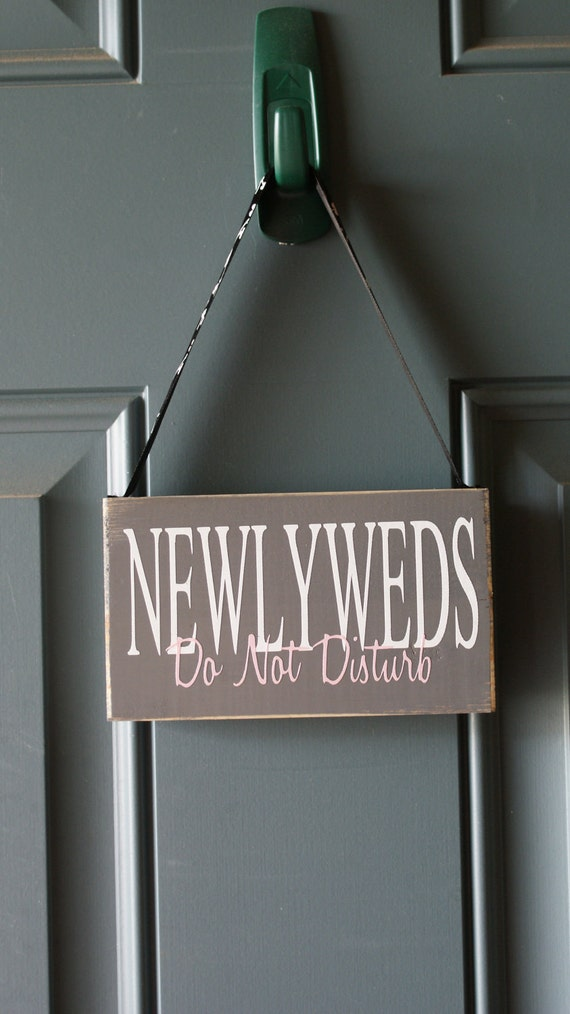 Newlyweds Do Not Disturb door hanger - wood and vinyl sign - shower gift - great for the hotel room
