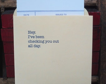 Library Card Catalog Love Note