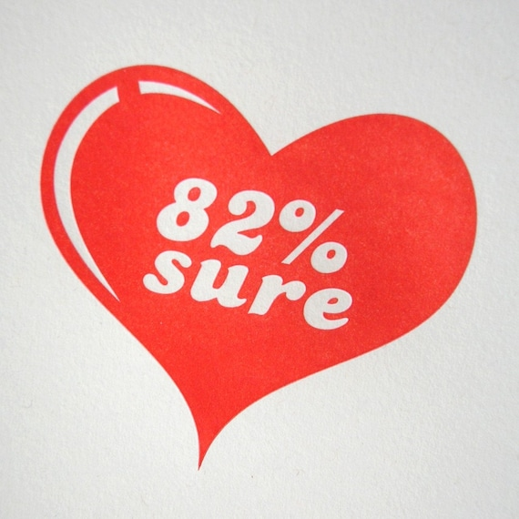 82 percent sure letterpress greeting card