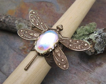 Moonstone Jewel Dramatic Dragonfly Ring