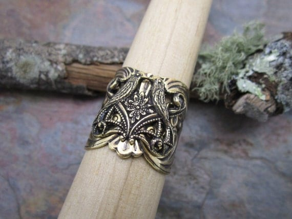 Love Birds Ring in Antique Gold,Free Shipping, Christmas, Birthday, Anniversary Gift