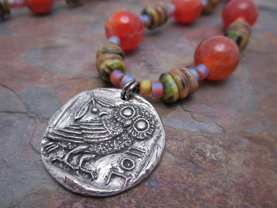 Artisan Pewter Owl with Fire Agate Gemstones Necklace