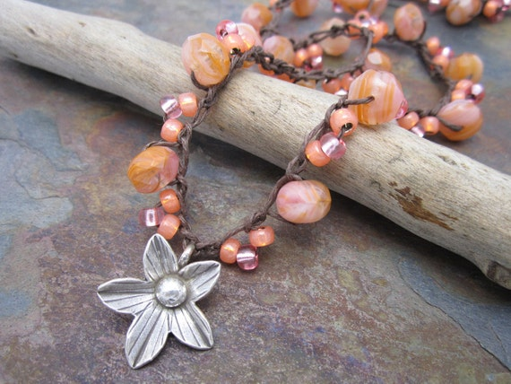 Bliss Boho Beaded Crochet Necklace, Thai Silver Lily, and Pink and Peach Sherbert Czech Glass Beads