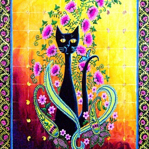Black Cat and Paisley ACEO print
