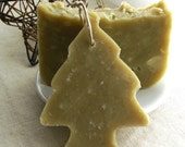 Christmas Tree Soap Ornament and Bar Set Scented with Pine, Juniper and Fir Essential Oils