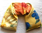 Flax Microwavable Pillow - Flax seed pillows - Yellow, Orange, and Blue Floral Print