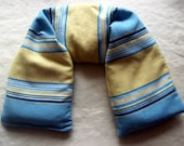 Lavender Flax Seed Neck Pillow Blue and Yellow Striped