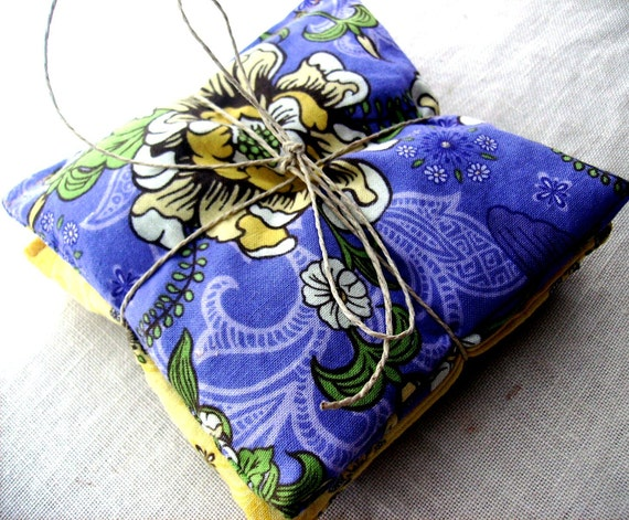 Three Lavender Sachets - Yellow Butterflies- Purple Passion Flower