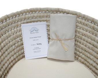 One (1) Moses Basket Sheet- Ivory Cotton