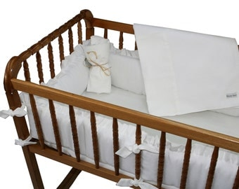 White Pique Cradle Bedding Set