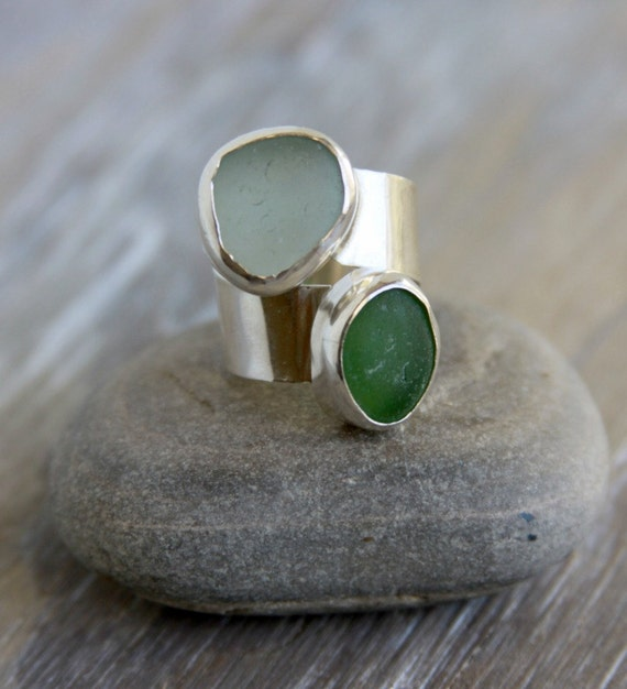 Sea Glass Ring Aqua and Green Adjustable Ring