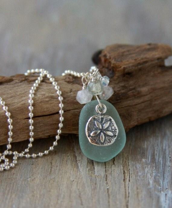 Aqua Sea Glass Pendant with Semi Precious Stones and Sand Dollar Charm