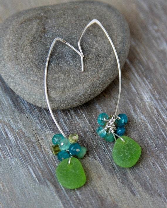 Lime Green Sea Glass Earrings  Modern Drop Dangle Earrings