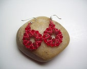 Red beaded wheel Swarovski crystal and seed bead earrings