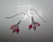 Simple Pink Swarovski Crystal and Sterling silver wire-wrapped earrings
